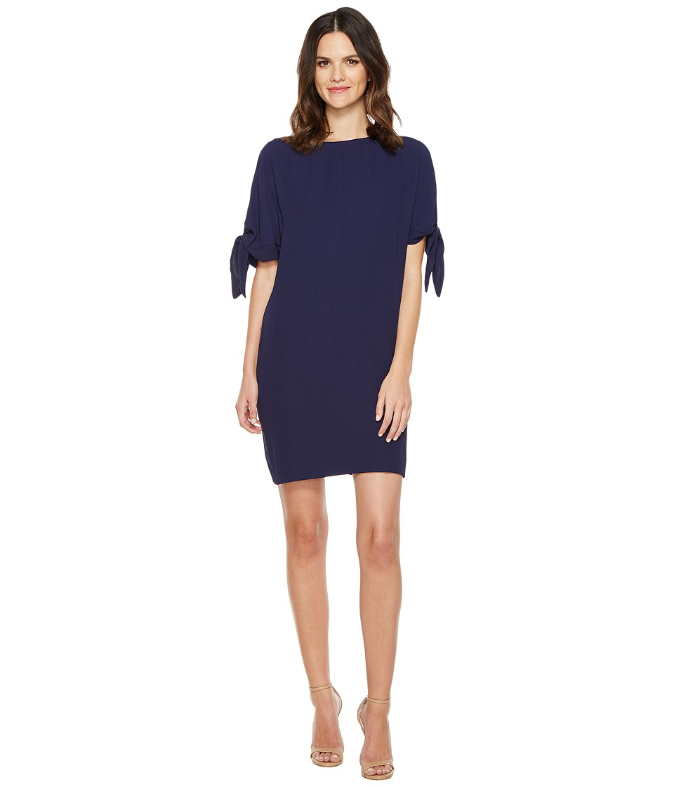 Vince Camuto - Crepe Knotted Sleeve Shift Dress (Navy) Women's Dress
