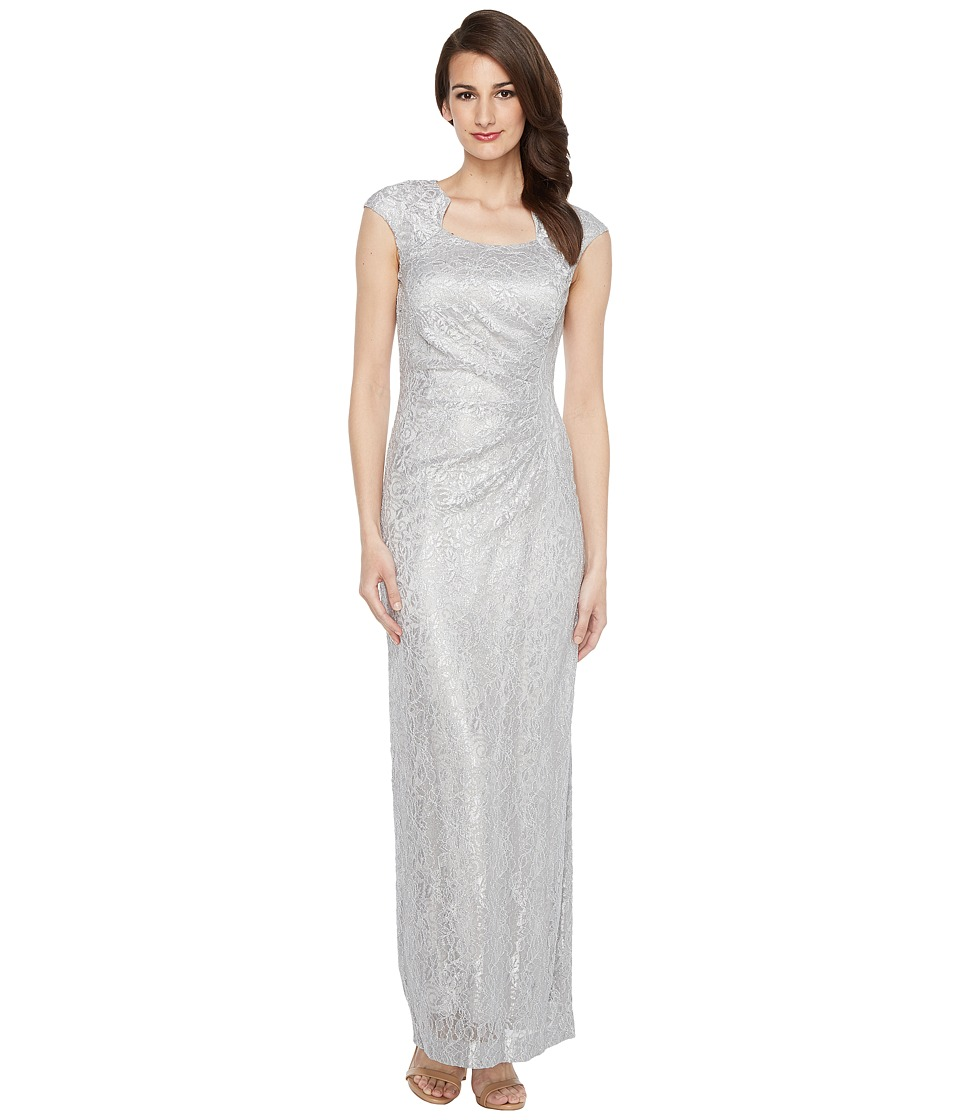 Tahari by ASL - Horseshoe Neck Lace Gown (Silver) Women's Dress