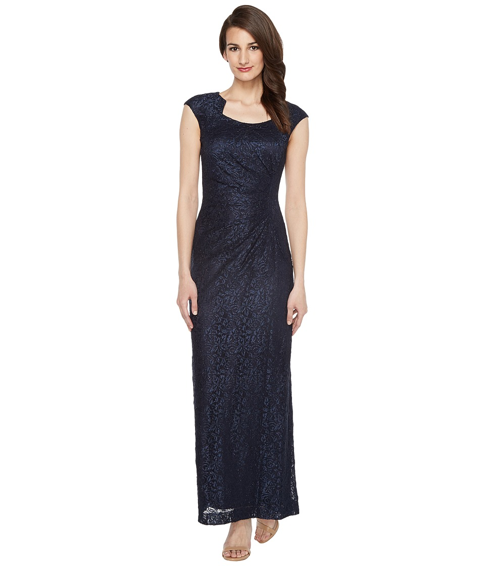 Tahari by ASL - Horseshoe Neck Lace Gown (Navy) Women's Dress