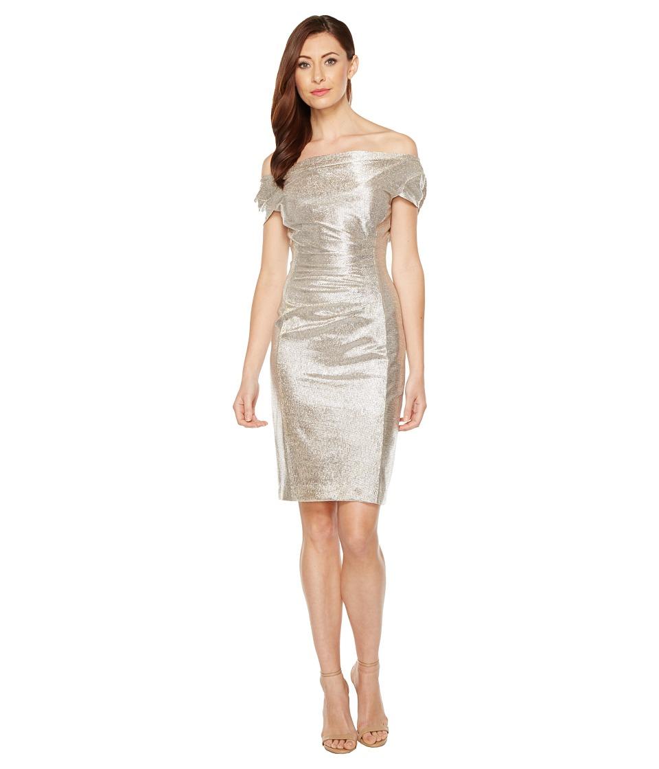 Tahari by ASL Metallic Sheath Dress (Silver Powder) Women