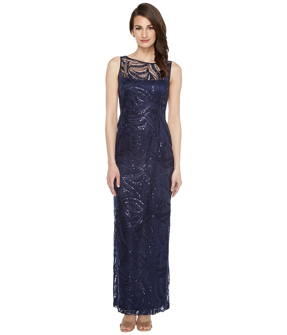 Tahari by ASL Sequin Embroidered Gown Navy Dress