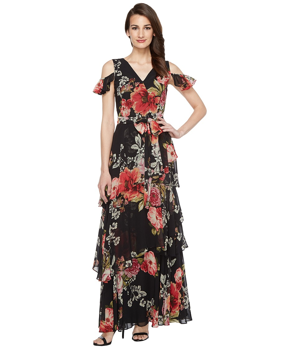 Tahari by ASL - Floral Cold Shoulder Chiffon Gown (Black/Sage/Magenta) Women's Dress