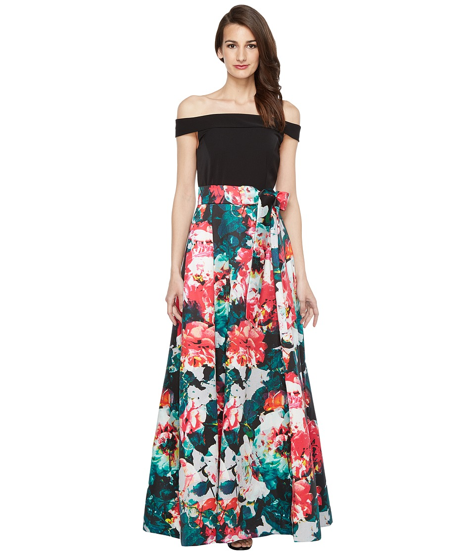 Tahari by ASL Off Shoulder Ballgown Black-Emerald-Pink Dress