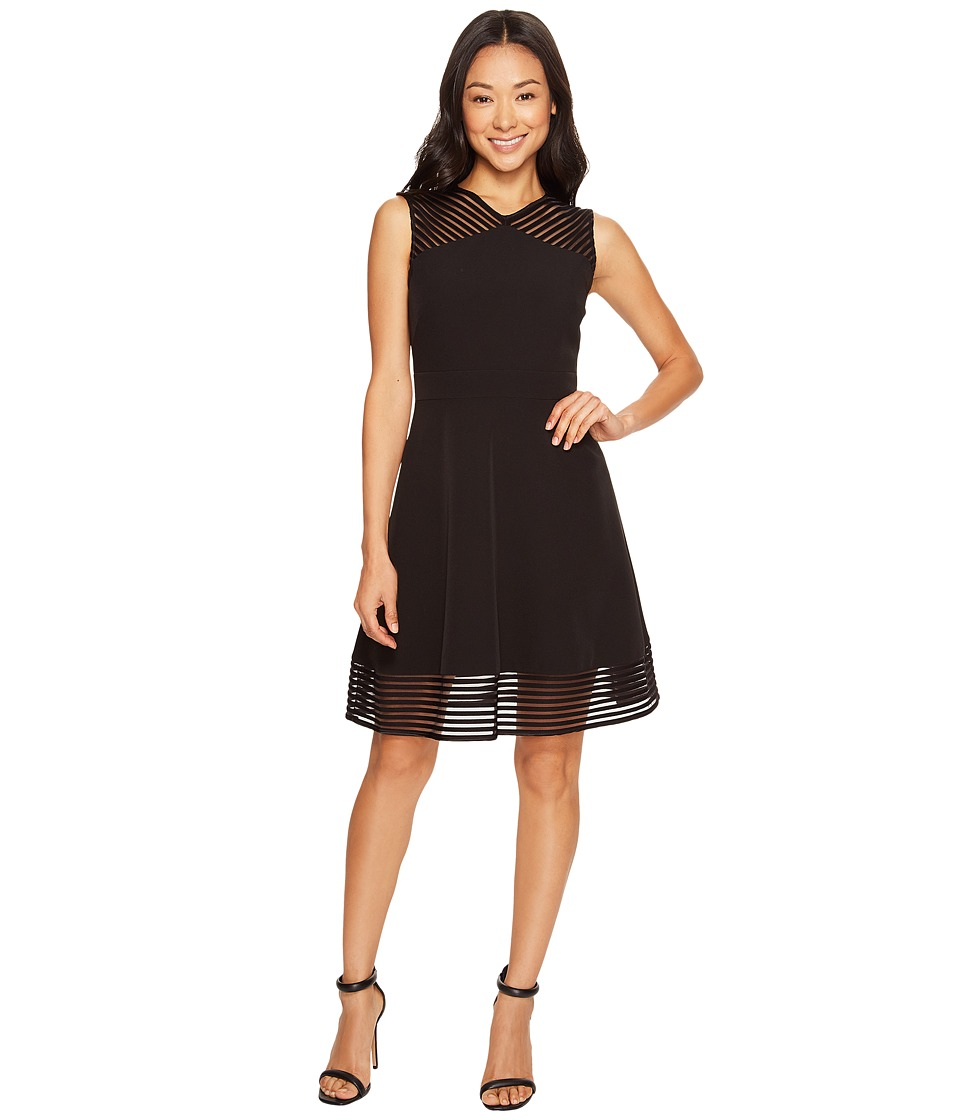 Tahari by ASL Petite - Petite Mesh Stripe Trim Dress (Black) Women's Dress
