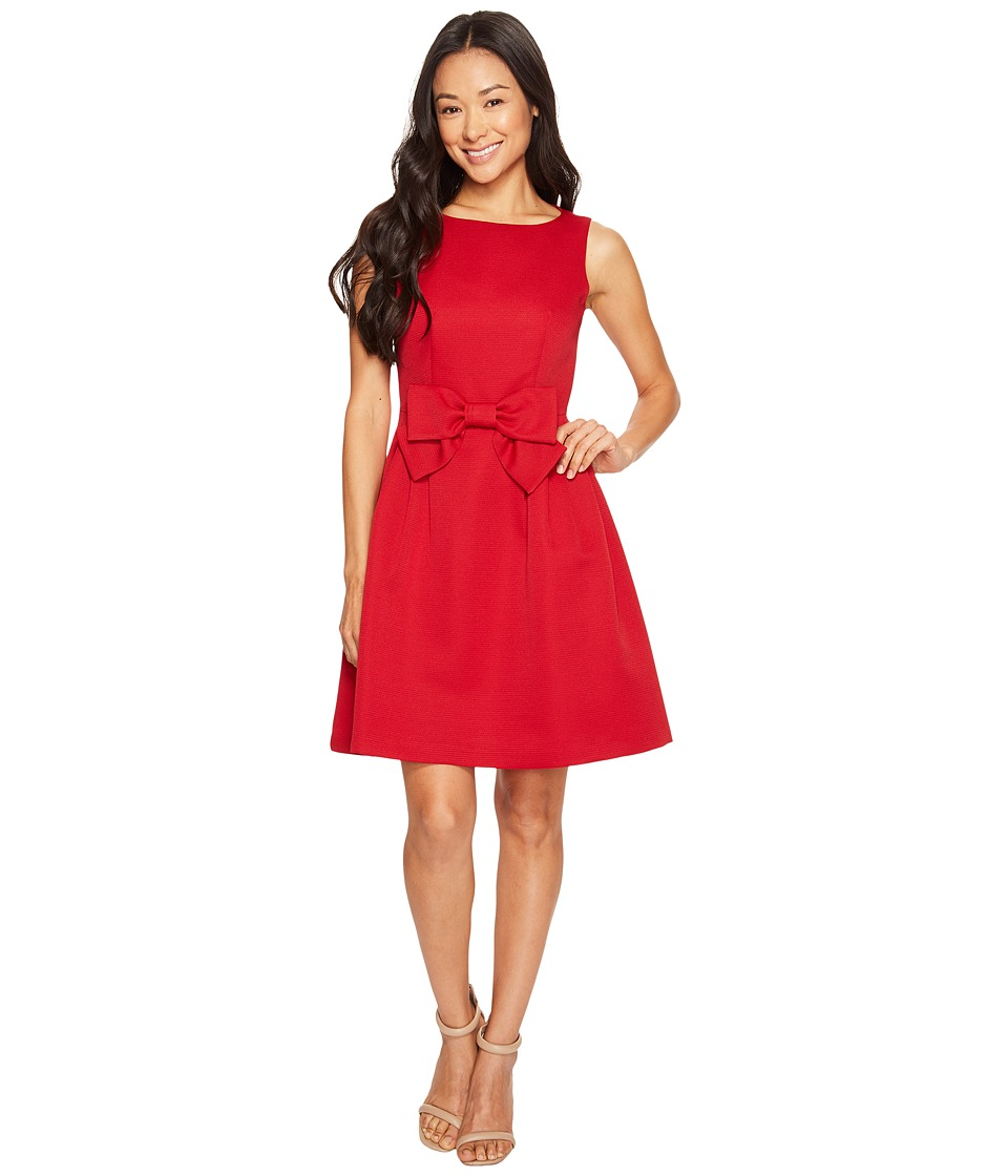 Tahari by ASL Petite - Petite Bow Fit and Flare Dress (Cherry Red) Women's Dress