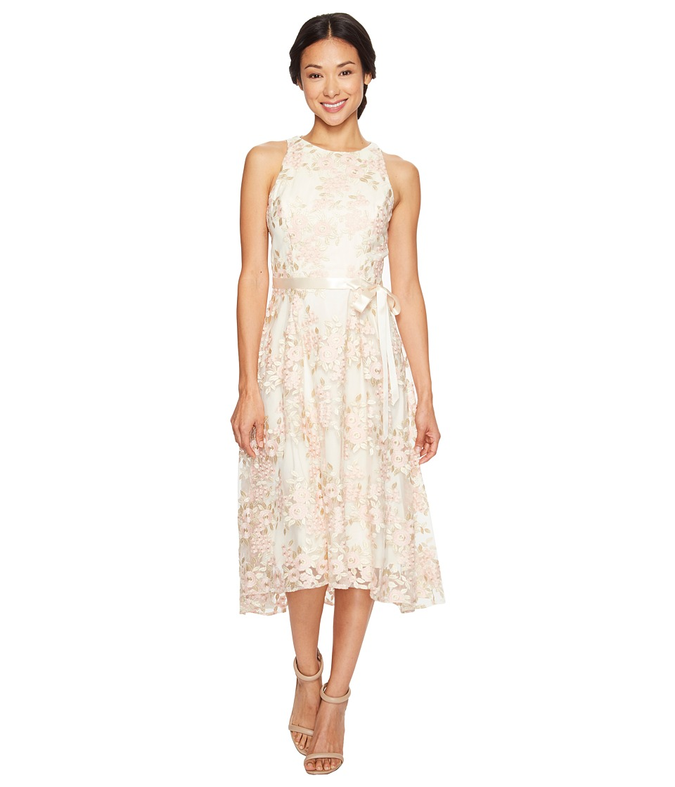 Tahari by ASL Petite - Petite Tea-Length Embroidered Dress (Champagne/Petal) Women's Dress