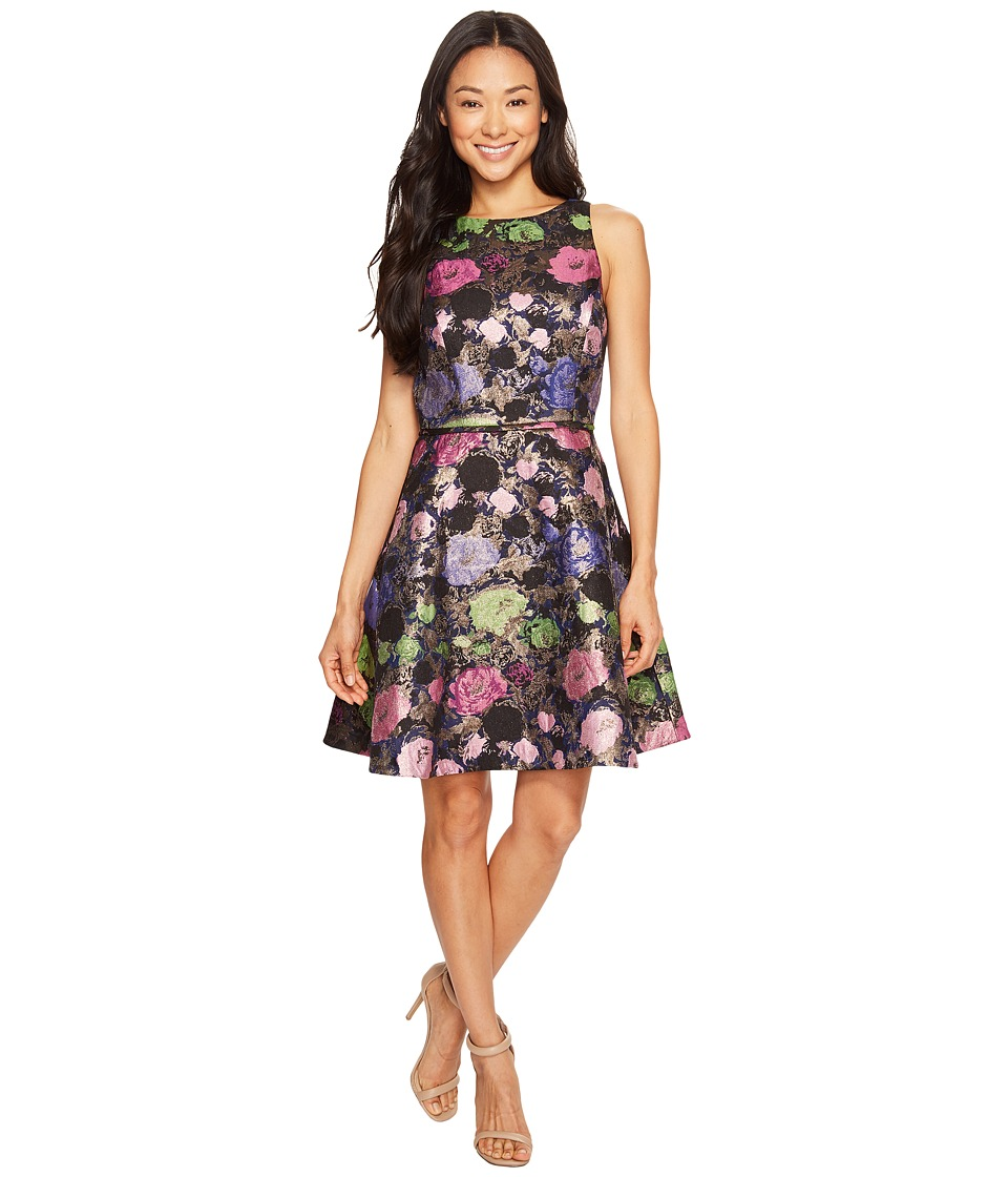 Tahari by ASL Petite - Petite Metallic Floral Fit and Flare Dress (Navy/Pink/Emerald) Women's Dress