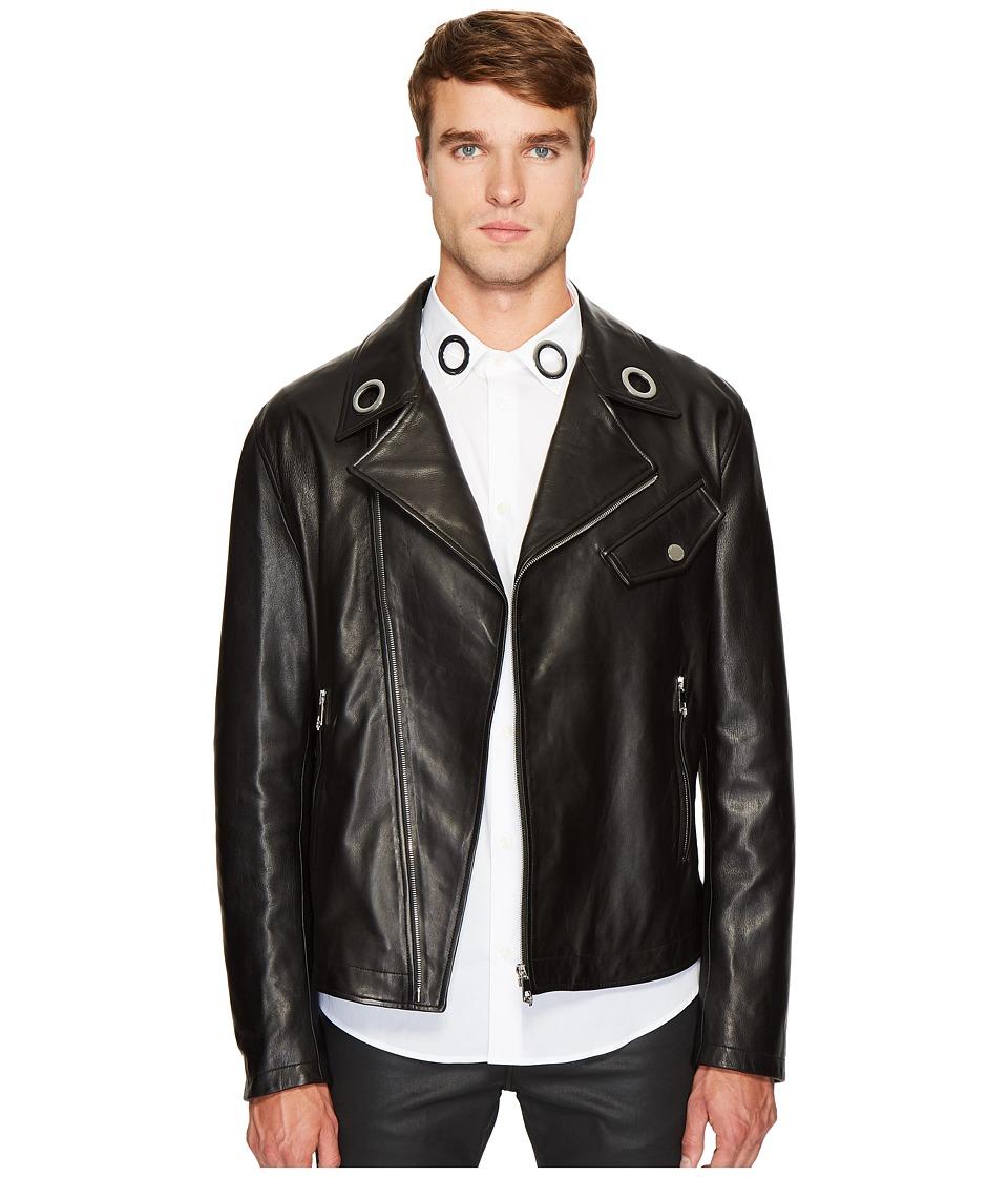 Versace Collection - Leather Moto Jacket (Black) Men's Coat