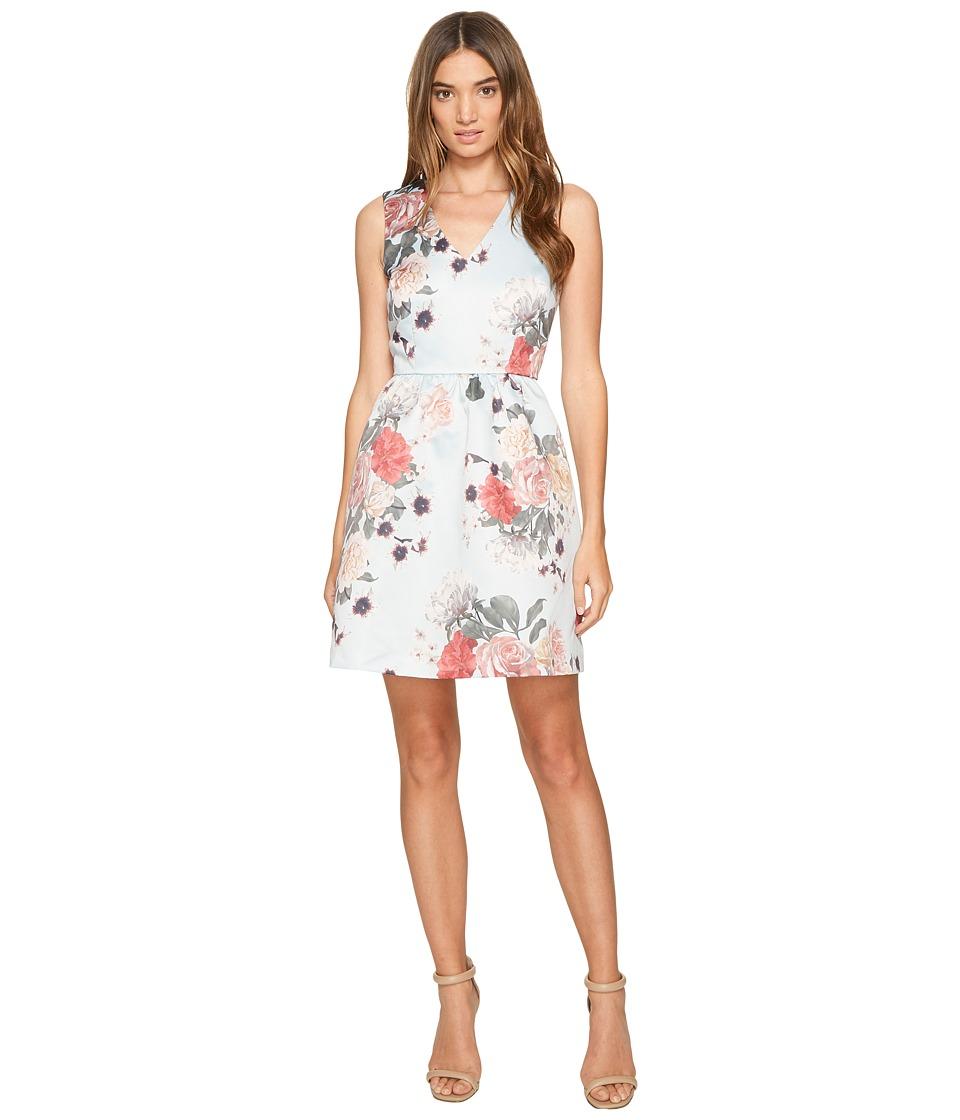 CeCe Rose Sleeveless V-Neck Floral Light Sterling Dress