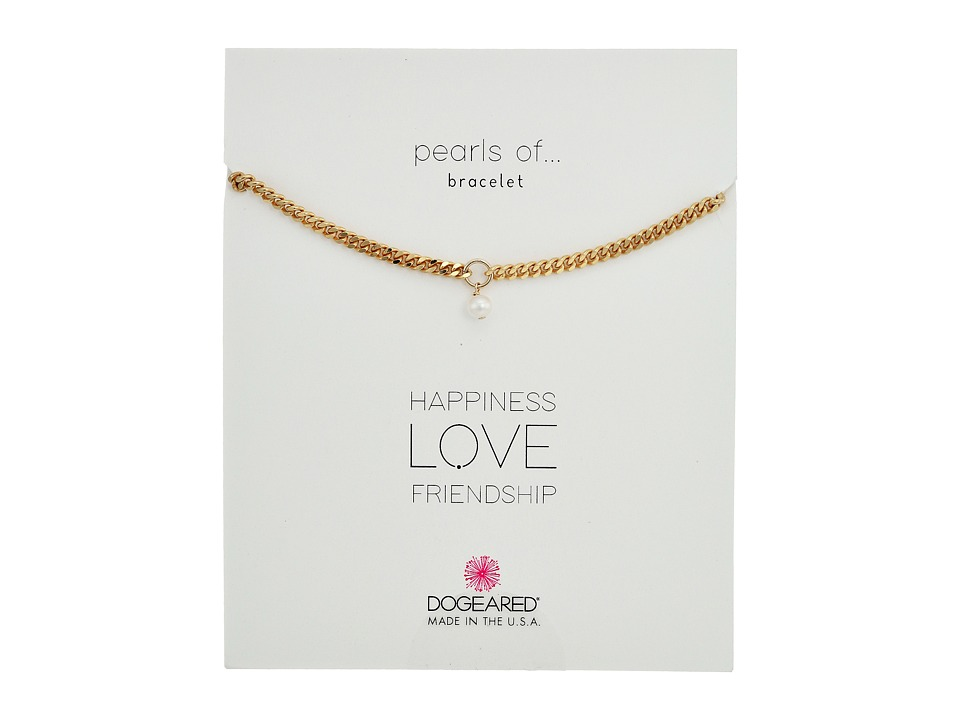 Dogeared - Heavy Curbed Chain w/ Pearl Bracelet (Gold Dipped) Bracelet
