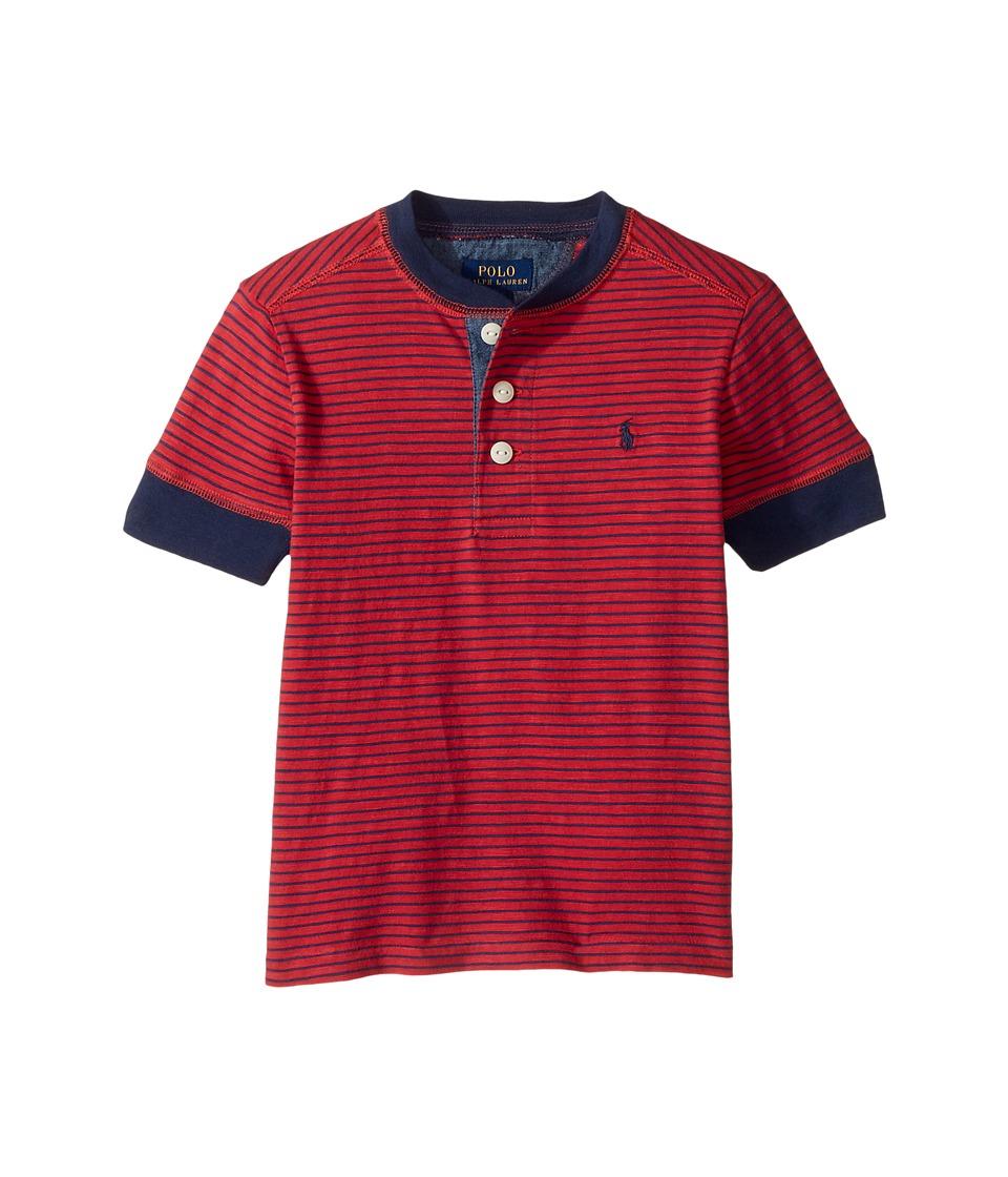 Polo Ralph Lauren Kids - Yarn-Dyed Slub Jersey Short Sleeve Henley Top (Toddler) (Sunrise Red Multi) Boy's Short Sleeve Knit