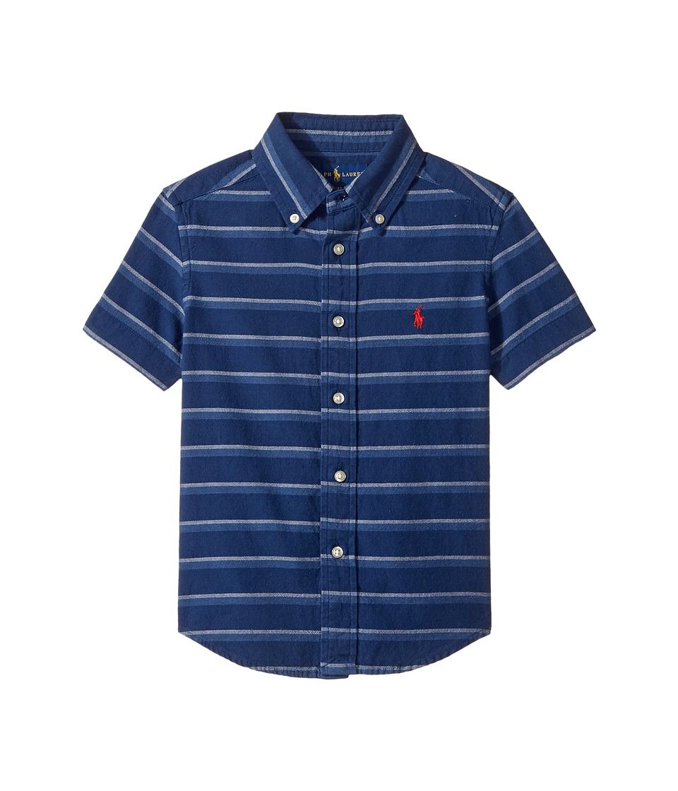 Polo Ralph Lauren Kids - Indigo Plain Weave Short Sleeve Button Down Top (Toddler) (Blue/White Multi) Boy's Short Sleeve Button Up