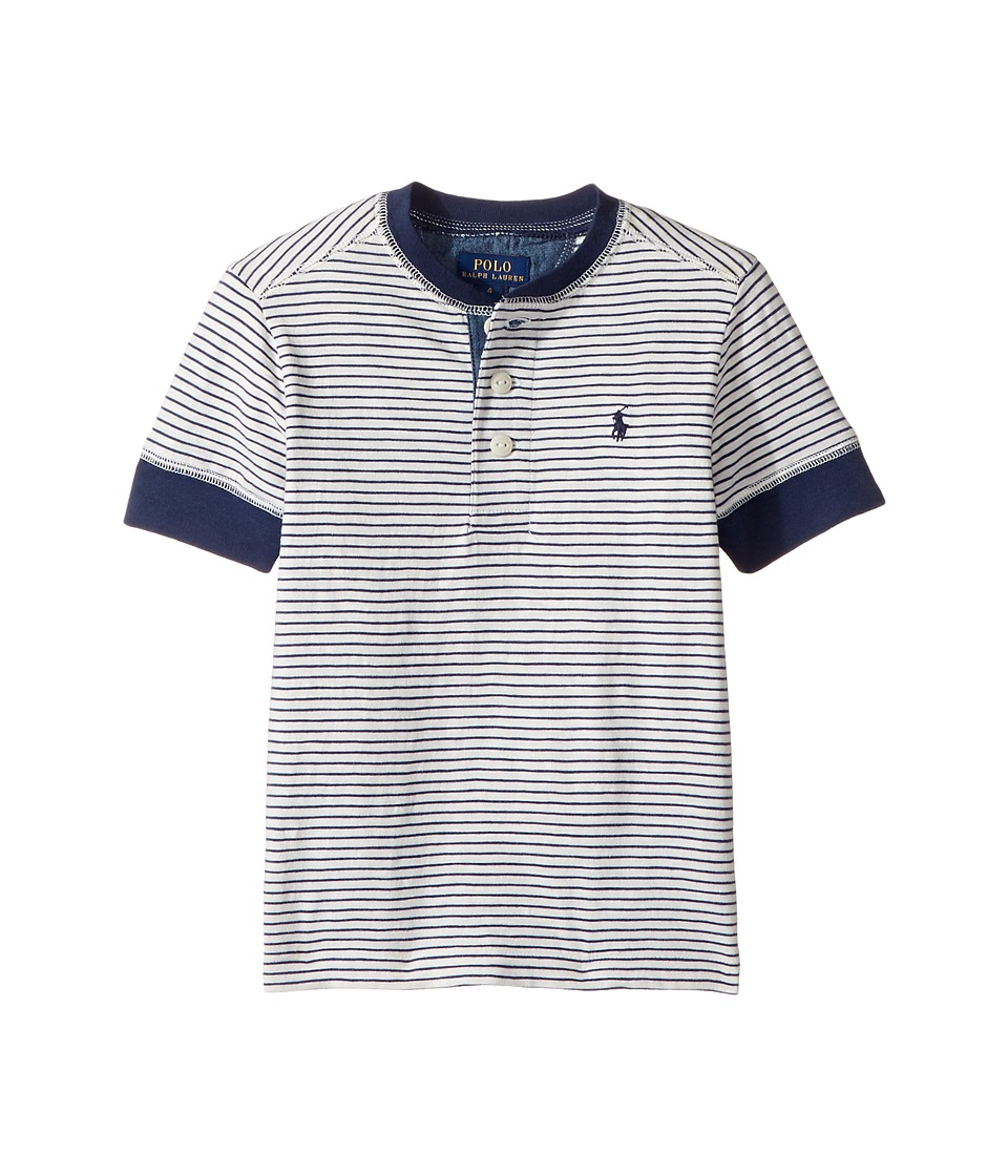Polo Ralph Lauren Kids - Yarn-Dyed Slub Jersey Short Sleeve Henley Top (Little Kids/Big Kids) (Fresco Blue Multi) Boy's T Shirt