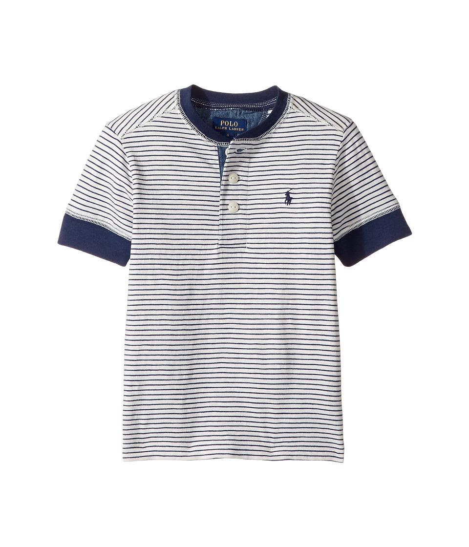 Polo Ralph Lauren Kids - Yarn-Dyed Slub Jersey Short Sleeve Henley Top (Little Kids/Big Kids) (Fresco Blue Multi) Boy's T Shirt