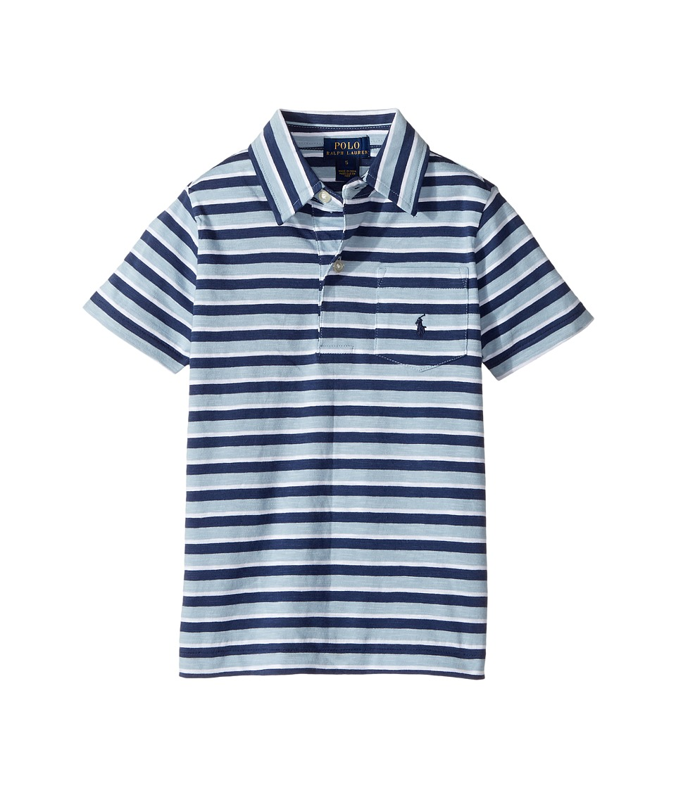 Polo Ralph Lauren Kids - Yarn-Dyed Slub Jersey Short Sleeve Cut Top (Little Kids/Big Kids) (Naples Blue Multi) Boy's T Shirt