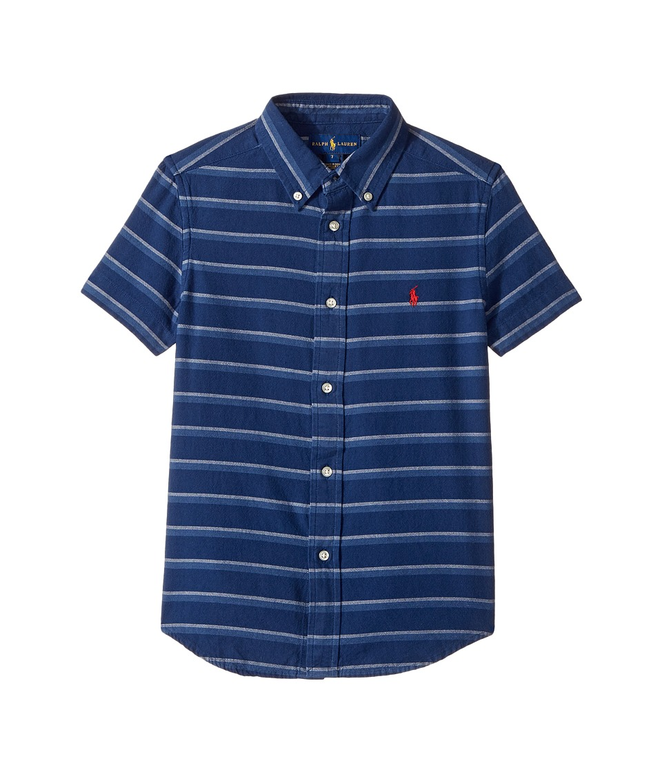Polo Ralph Lauren Kids - Indigo Plain Weave Short Sleeve Button Down Top (Little Kids/Big Kids) (Blue/White Multi) Boy's Short Sleeve Button Up