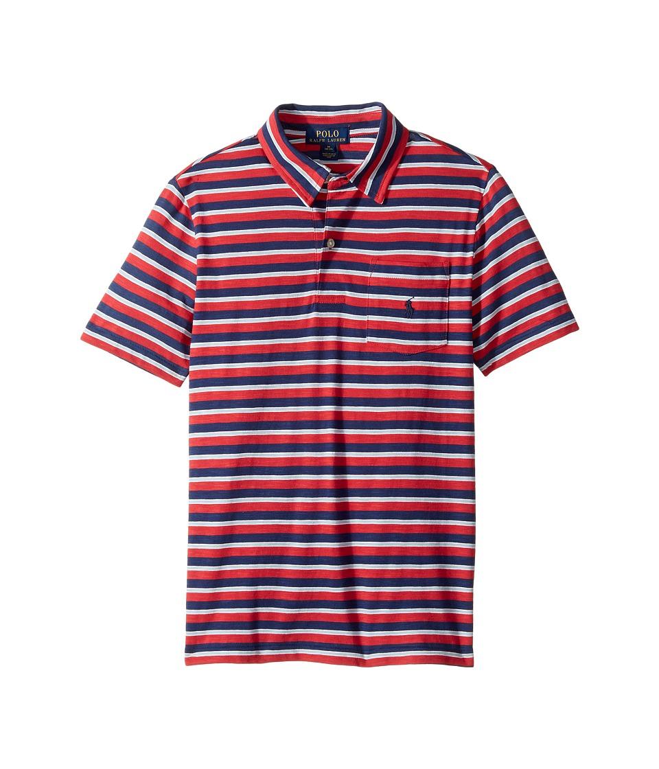 Polo Ralph Lauren Kids - Yarn-Dyed Slub Jersey Cut Top (Big Kids) (Sunrise Red Multi) Boy's T Shirt