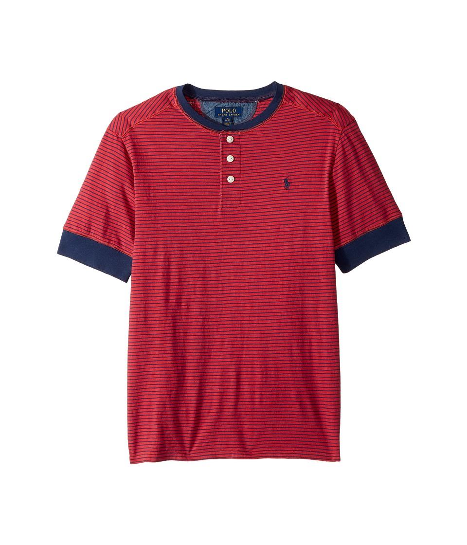 Polo Ralph Lauren Kids - Yarn-Dyed Slub Jersey Short Sleeve Henley Top (Big Kids) (Sunrise Red Multi) Boy's T Shirt