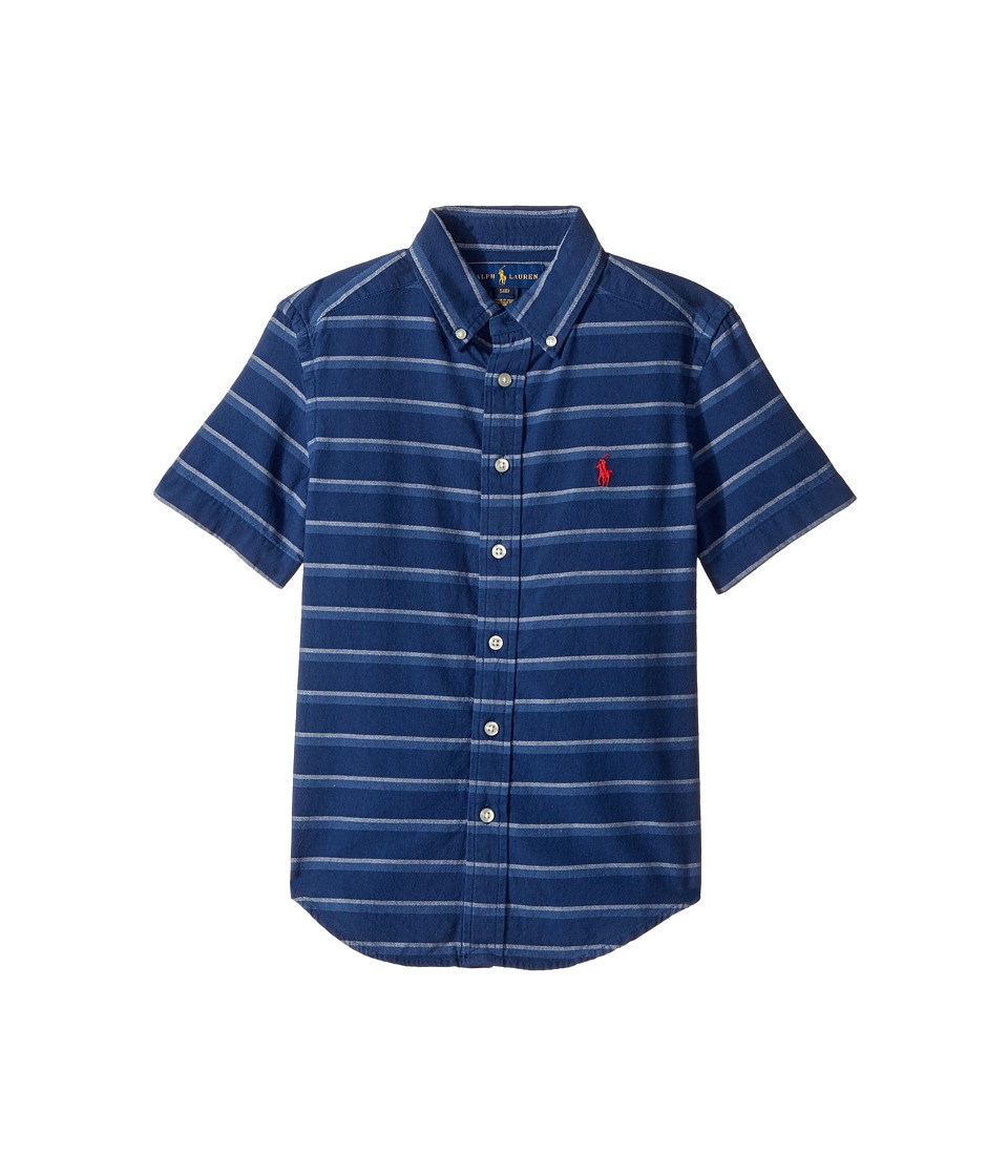Polo Ralph Lauren Kids - Indigo Plain Weave Short Sleeve Button Down Top (Big Kids) (Blue/White Multi) Boy's Short Sleeve Button Up
