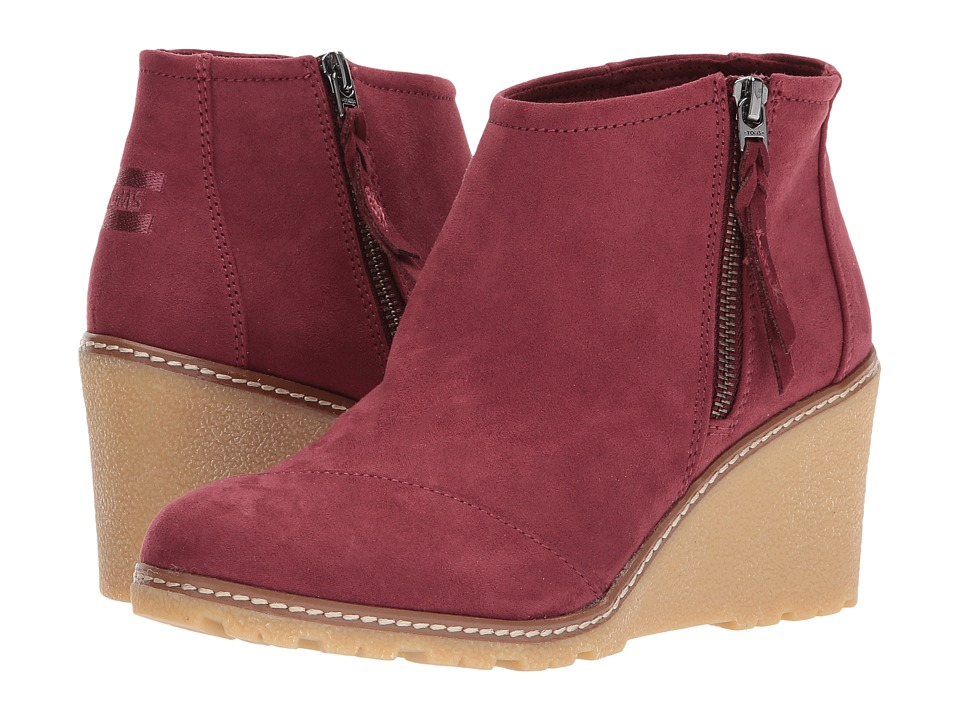 TOMS Avery Wedge Oxblood Microfiber Wedge Shoes