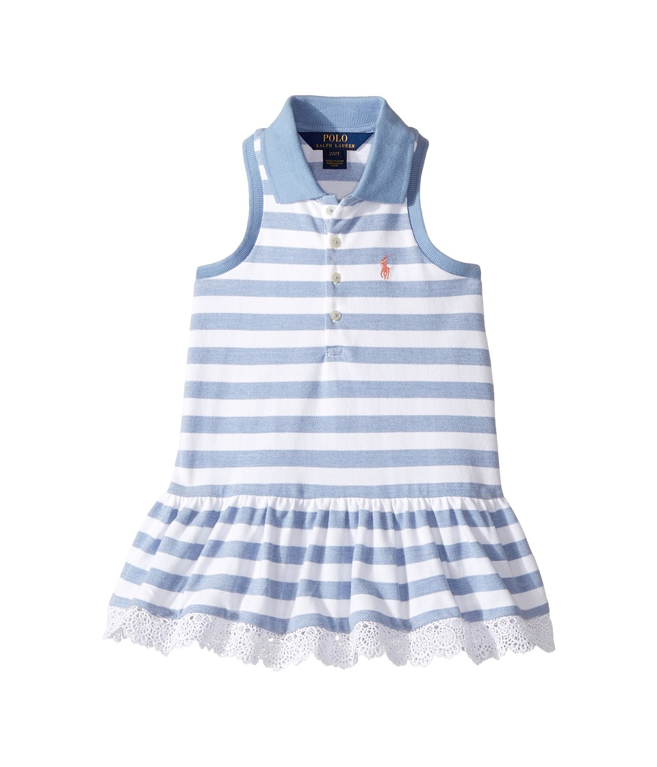 Polo Ralph Lauren Kids - Stretch Mesh Slim Polo Dress (Toddler) (French Blue/White) Girl's Dress