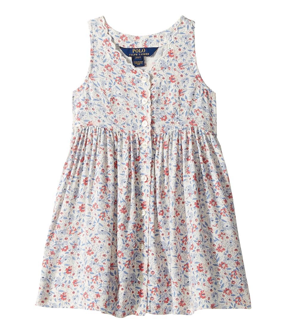 Polo Ralph Lauren Kids - Cotton Poplin Floral Dress (Toddler) (Cream Multi) Girl's Dress