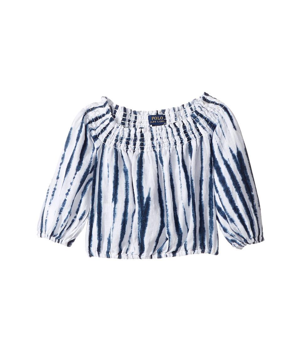 Polo Ralph Lauren Kids - Shibori Linen Boho Top (Toddler) (White/Blue Multi) Girl's Short Sleeve Pullover