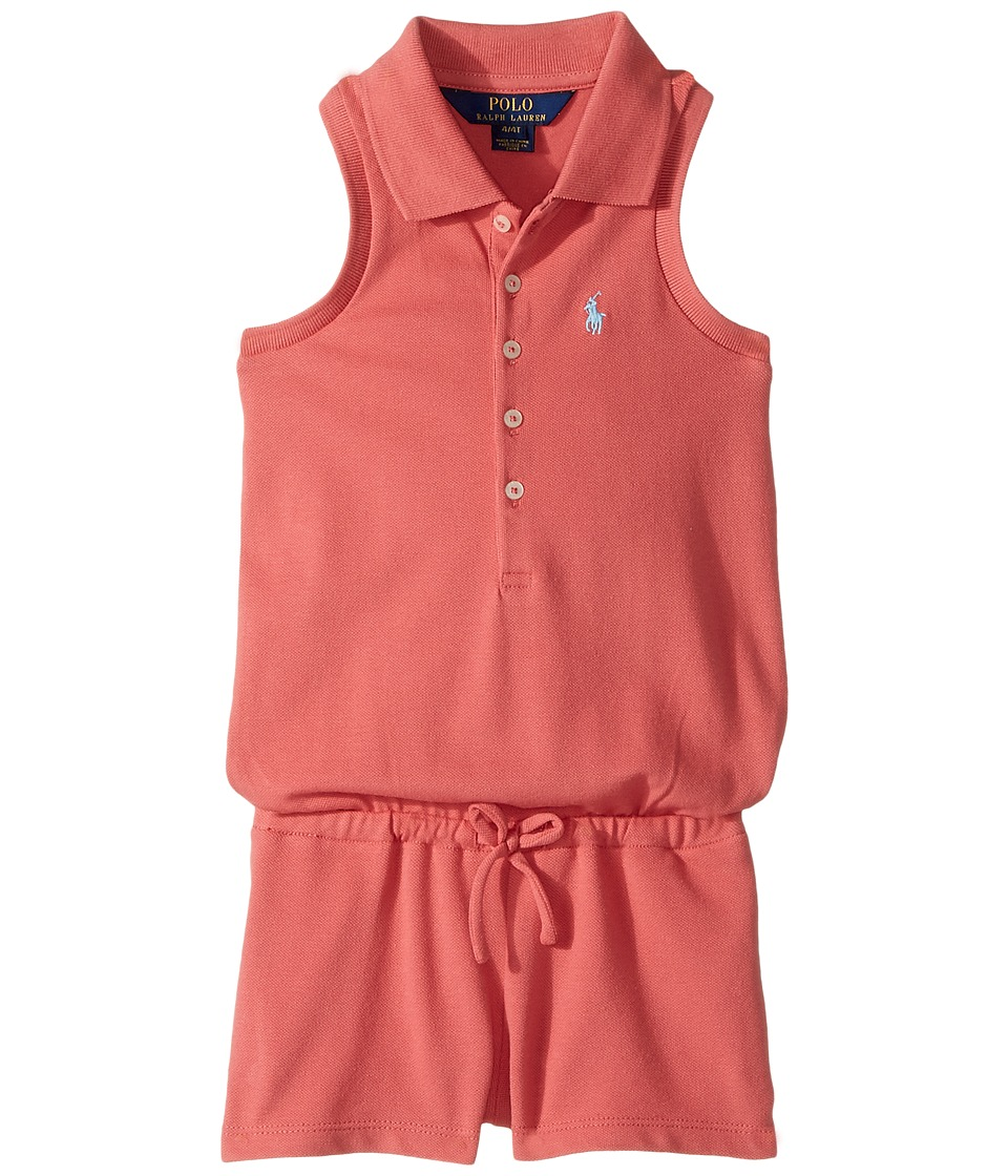 Polo Ralph Lauren Kids - Stretch Mesh Romper (Toddler) (Salmon Berry) Girl's Jumpsuit & Rompers One Piece