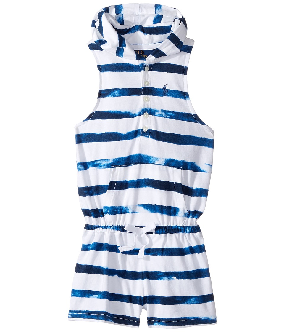 Polo Ralph Lauren Kids - Cotton Jersey Cover-Up Romper (Toddler) (Indigo Blue/White) Girl's Jumpsuit & Rompers One Piece