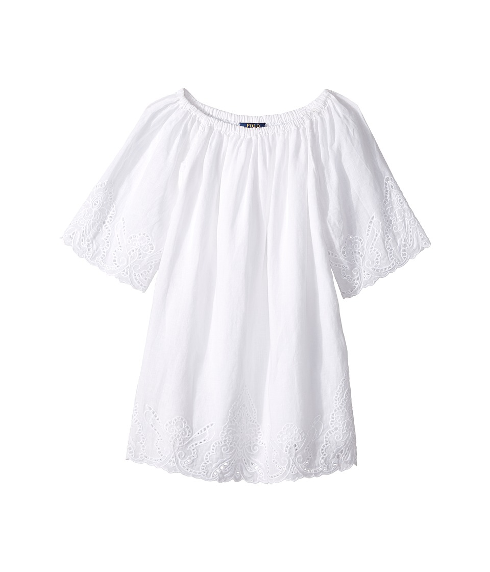 Polo Ralph Lauren Kids - Cotton Lace Hem Dress (Little Kids) (White) Girl's Dress