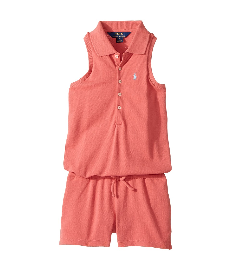 Polo Ralph Lauren Kids - Stretch Mesh Romper (Little Kids) (Salmon Berry) Girl's Jumpsuit & Rompers One Piece
