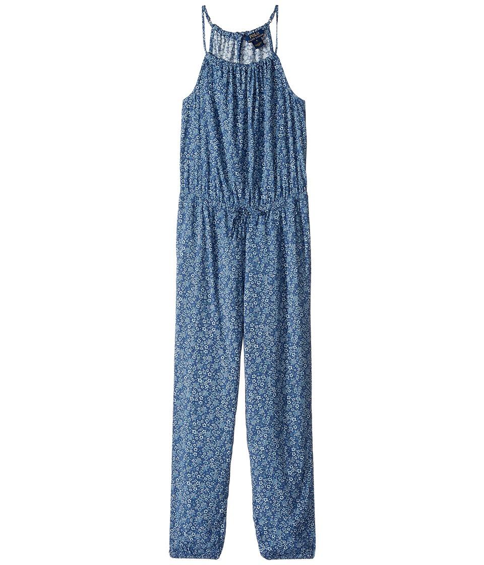 Polo Ralph Lauren Kids - Rayon Floral Romper (Little Kids) (Blue Multi) Girl's Jumpsuit & Rompers One Piece