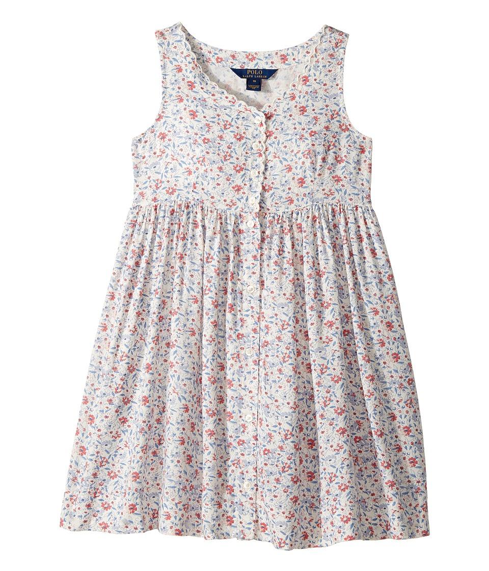 Polo Ralph Lauren Kids - Cotton Poplin Floral Dress (Big Kids) (Cream Multi) Girl's Dress