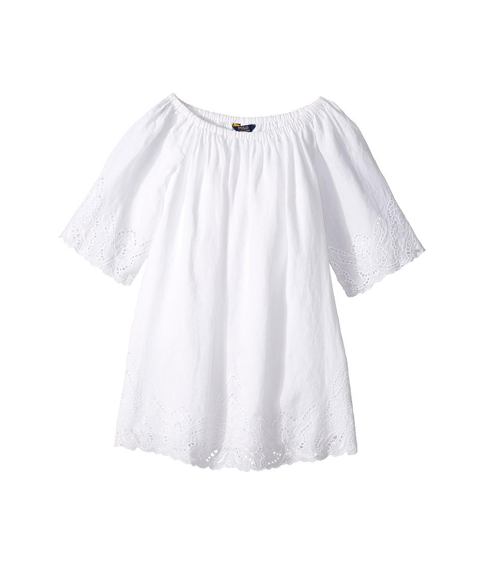Polo Ralph Lauren Kids - Cotton Lace Hem Dress (Big Kids) (White) Girl's Dress