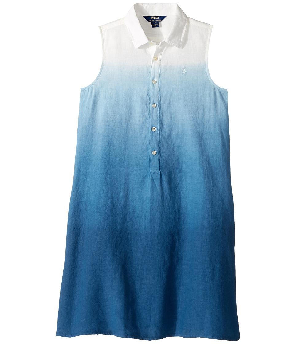 Polo Ralph Lauren Kids - Linen Dip-Dye Dress (Big Kids) (Indigo Blue) Girl's Dress