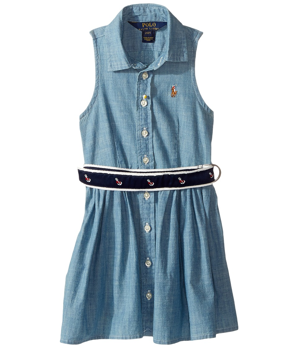 Polo Ralph Lauren Kids - Chambray Shirtdress (Toddler) (Indigo) Girl's Dress