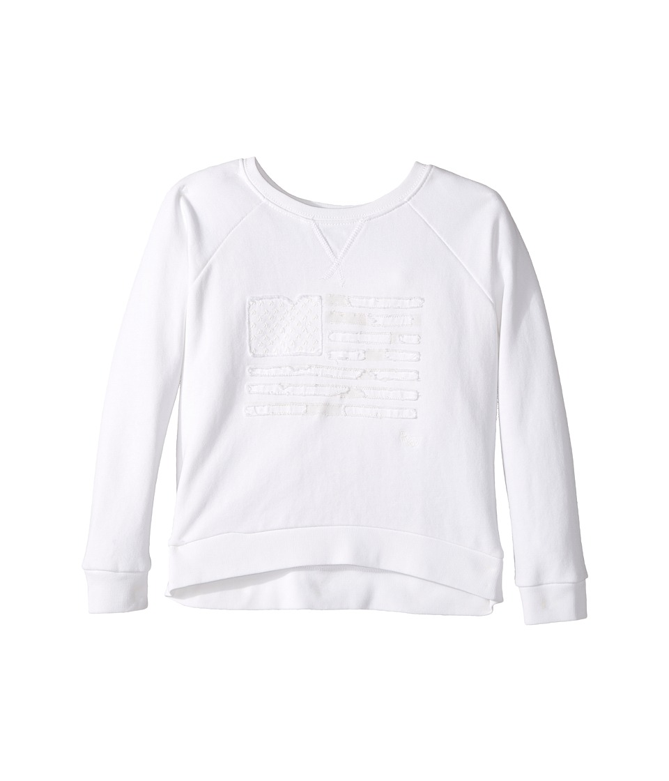 Polo Ralph Lauren Kids - Atlantic Terry Flag Crew Top (Little Kids) (Soft White) Girl's Long Sleeve Pullover