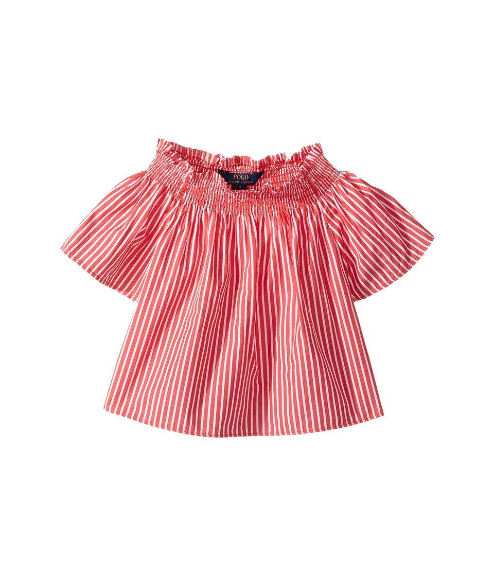 Polo Ralph Lauren Kids - Sunfade Bengal Stripe Top (Little Kids) (Red/White) Girl's Short Sleeve Knit