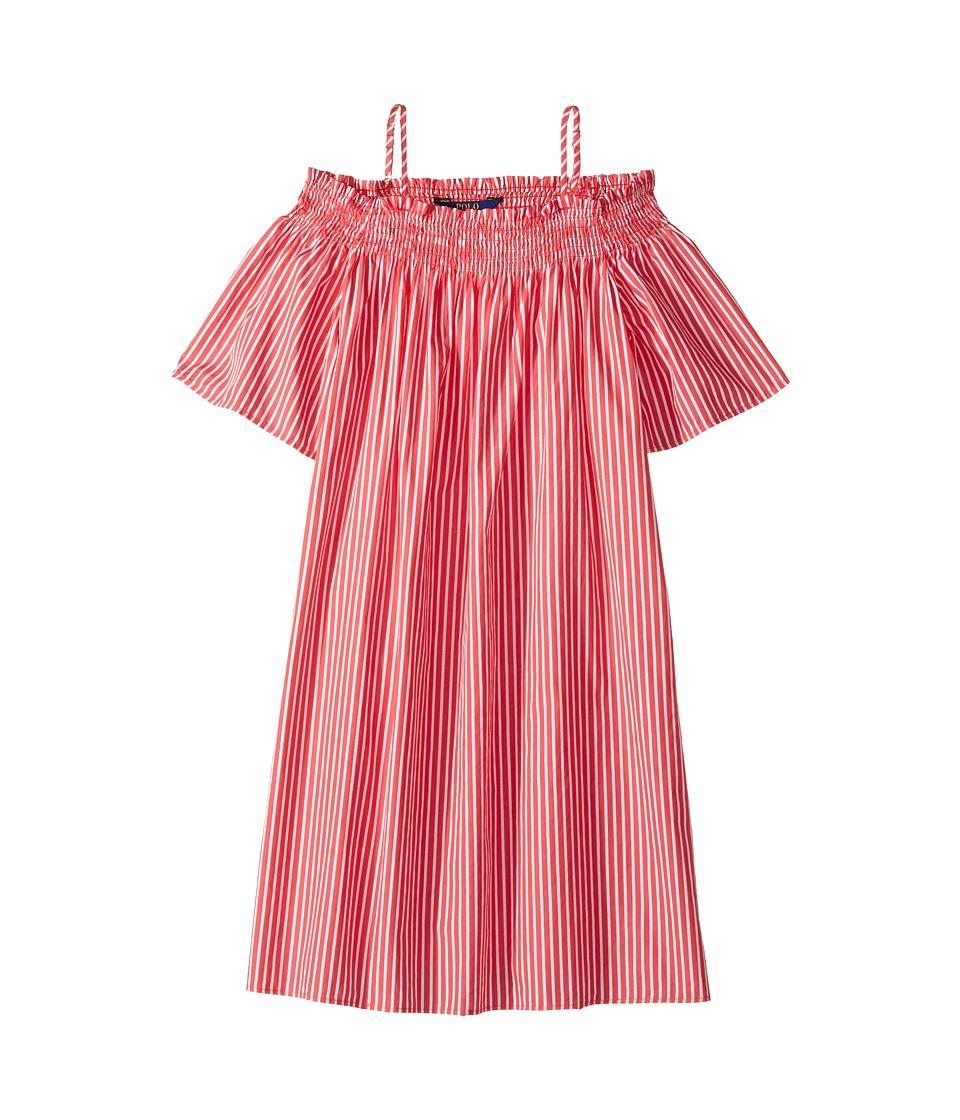 Polo Ralph Lauren Kids - Sunfade Bengal Slim Shirtdress (Big Kids) (Red/White Stripe) Girl's Dress
