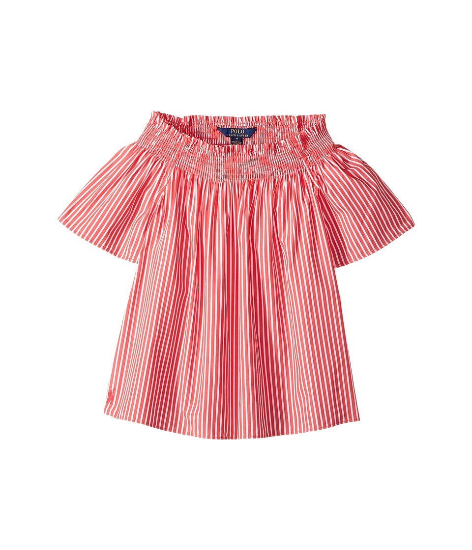 Polo Ralph Lauren Kids - Sunfade Bengal Striped Top (Big Kids) (Red/White) Girl's Short Sleeve Knit