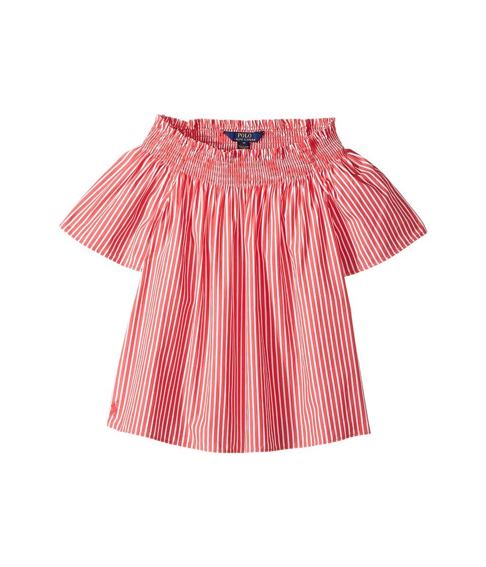 Polo Ralph Lauren Kids - Sunfade Bengal Striped Top (Big Kids) (Red/White) Girl's Short Sleeve Knit