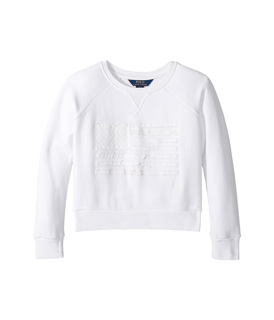Polo Ralph Lauren Kids - Atlantic Terry Flag Crew Top (Little Kids/Big Kids) (Soft White) Girl's Long Sleeve Pullover