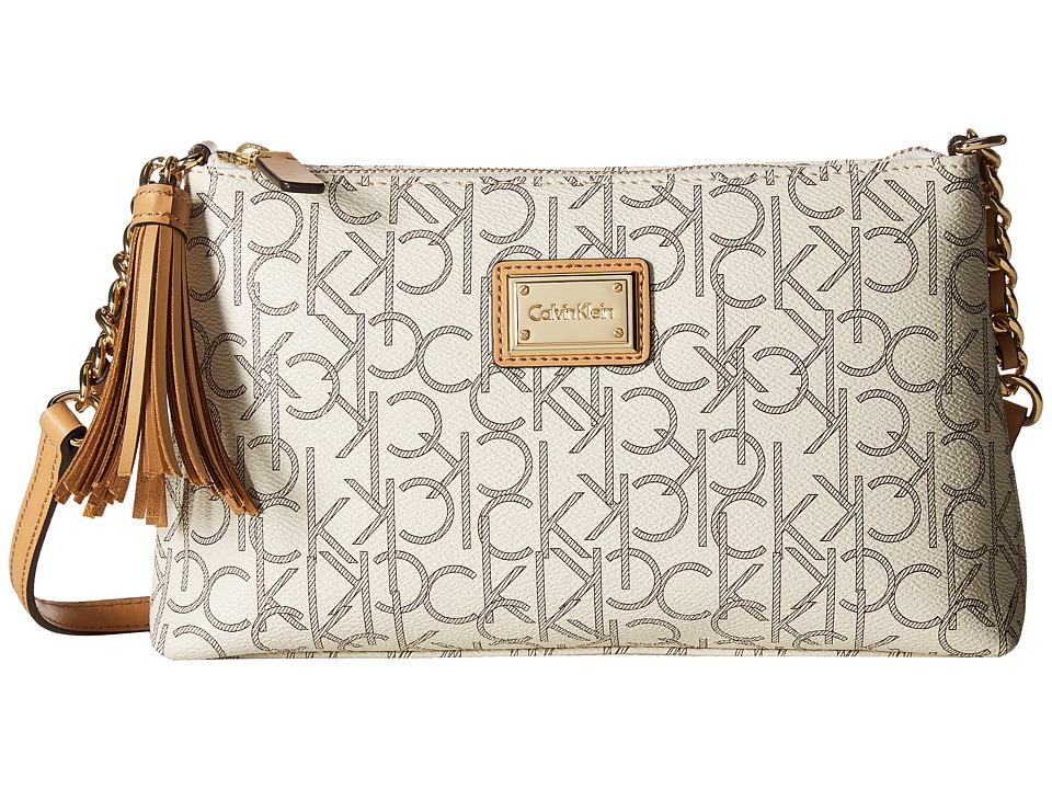 Calvin Klein - Hudson Monogram Crossbody (Almond/Khaki/Camel) Cross Body Handbags