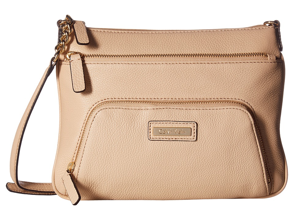 Calvin Klein - Key Item Pebble Leather Crossbody (Nude) Cross Body Handbags