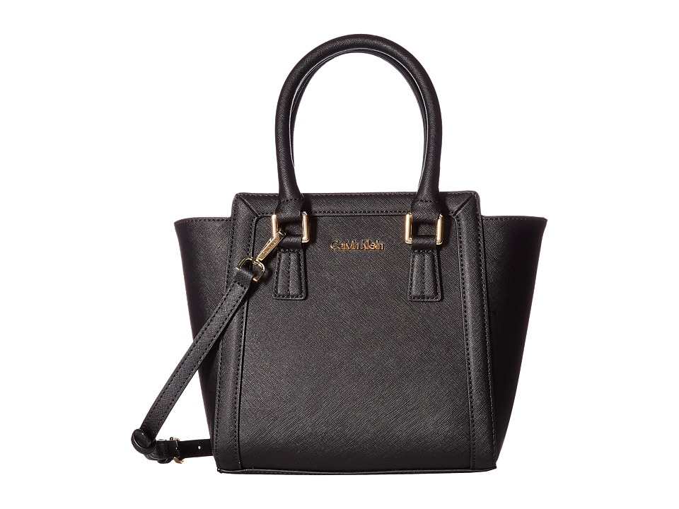 Calvin Klein - Saffiano Mini Satchel (Black/Gold) Satchel Handbags