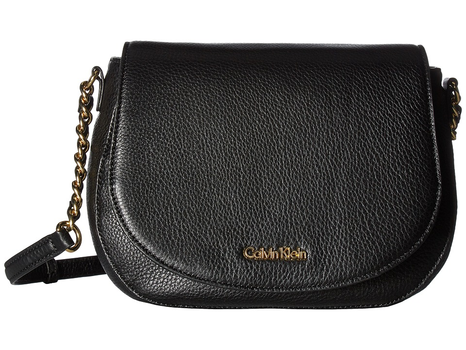 Calvin Klein - Key Items Pebble Saddle Bag (Black/Gold) Satchel Handbags