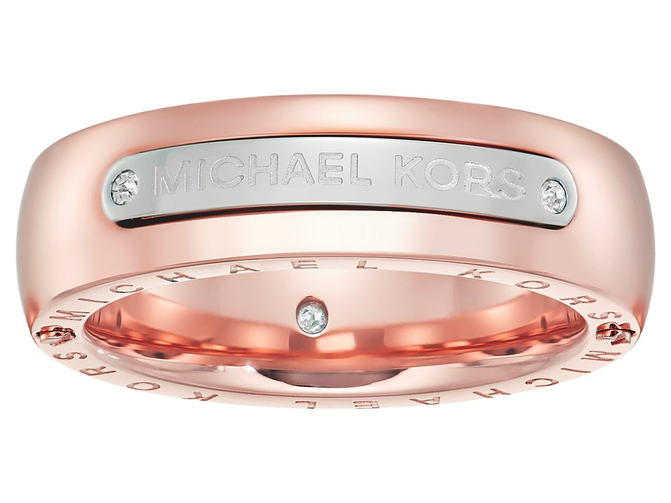Michael Kors - Tailored Two-Tone Logo Plaque Band Ring (Rose Gold) Ring
