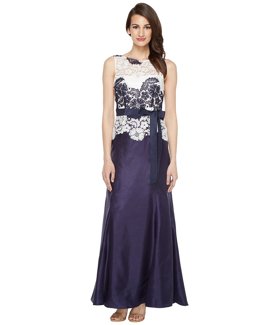 Tahari by ASL Lace Popover Gown (Navy/White) Women