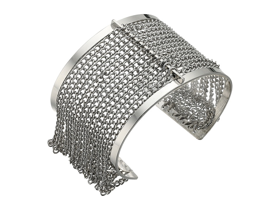 Steve Madden - Cut Out Open Cuff Bracelet with Chain Bangle (Rhodium) Bracelet