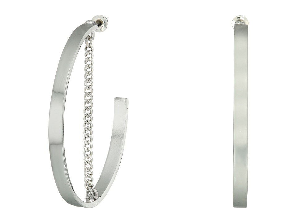 Steve Madden - Large Open Hoop with Chain Post Earrings (Rhodium) Earring